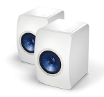 KEF LS50 Monitor Bookshelf Speakers Gloss White/ Electric Blue