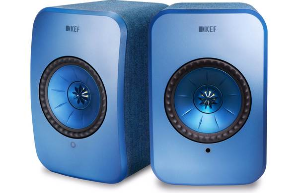 KEF LSX Wireless Stereo Speaker System with Bluetooth, Wi-Fi, Optical Input & Subwoofer Output - Blue