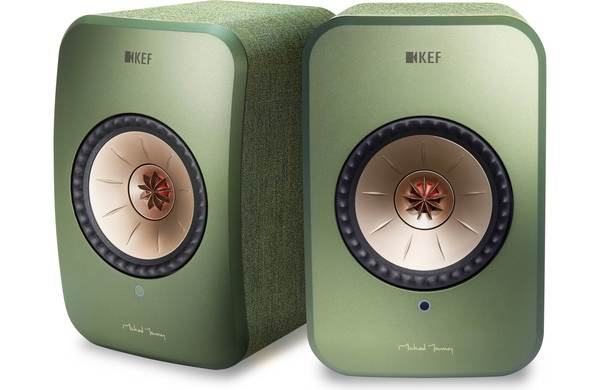 KEF LSX Wireless Stereo Speaker System with Bluetooth, Wi-Fi, Optical Input & Subwoofer Output - Green