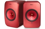 KEF LSX Wireless Stereo Speaker System with Bluetooth, Wi-Fi, Optical Input & Subwoofer Output - Red
